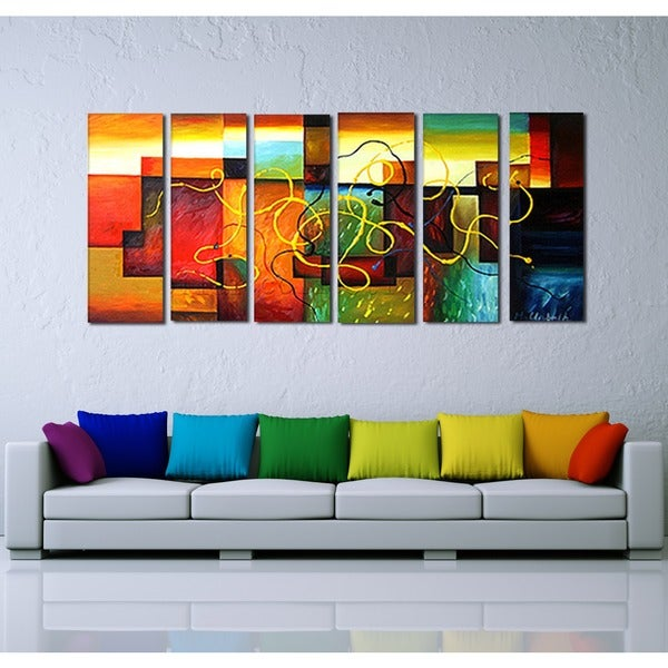 'Multi-Color Abstract Art' Hand Painted Canvas Art (6 Piece) 11794799