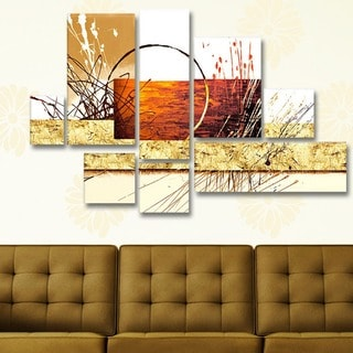 'Abstract Beige Brown' Hand Painted Canvas Art (4 Piece)