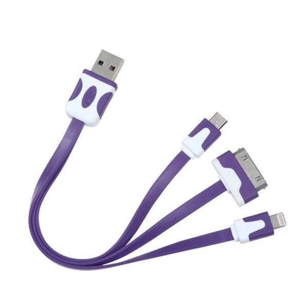BasAcc 30Pin/ 8Pin/ Micro USB 3-in-1 Purple Universal Charging Cable