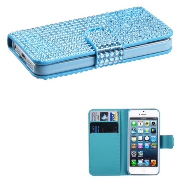 INSTEN Light Blue Book-style Wallet Phone Case Cover for Apple iPhone 5