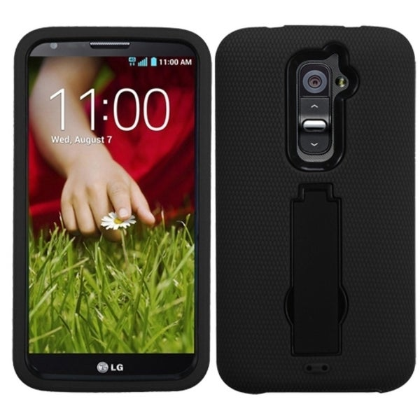 INSTEN Black/ Black Phone Case Cover with Stand for LG D801 Optimus G2/ D800 G2