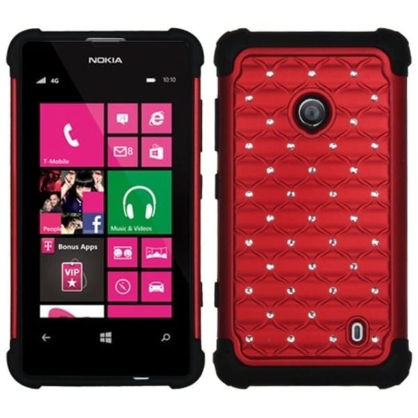 INSTEN Red/ Black TotalDefense Phone Case Cover for Nokia Lumia 521