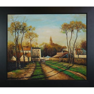 Camille Pissarro 'Entrance to the Village of Voisins' Hand Painted Framed Canvas Art
