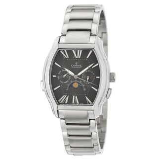 Charmex Men's 'Lucerne' Stainless Steel Moon Phase Watch