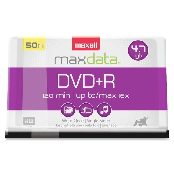 Maxell DVD Recordable Media - DVD+R - 16x - 4.70 GB - 50 Pack Spindle
