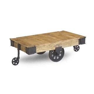 Reclaimed Wood Industrial Factory Cart Table (India)