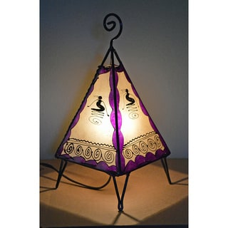 Handmade Purple and Natural Leather Henna Lamp (Morocco)