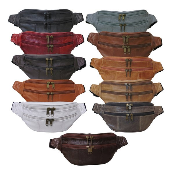 Amerileather Top-grain Cowhide Leather Fanny Pack with 40-inch Belt