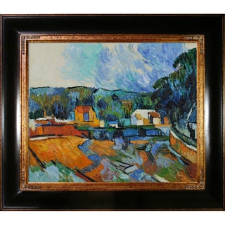 Paul Cezanne 'Uferlandschaft' Hand Painted Framed Canvas Art