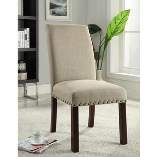 Linen Tan Nail Head Parsons Chairs Set of 2