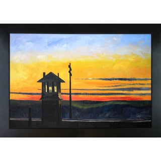 Edward Hopper 'Railroad Sunset' Hand Painted Framed Canvas Art