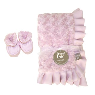 Trend Lab Pink Swirl Velour Blanket and Booties Set