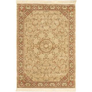 Persian Silk Cream Rug (3'3 x 4'7)