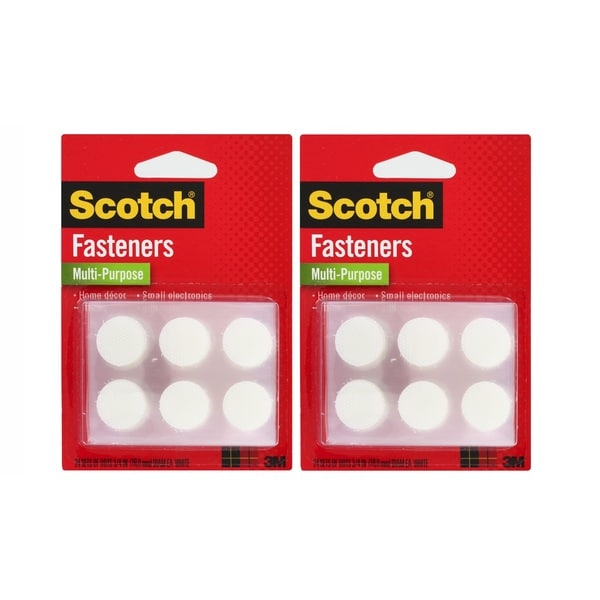 Scotch White 3/4-inch Multi-Purpose Hook and Loop Fasteners Pack of 48