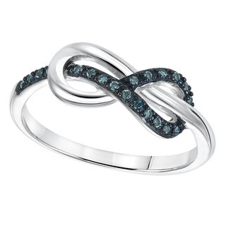 Cambridge Sterling Silver 1/10ct TDW Blue Diamond Infinity Ring