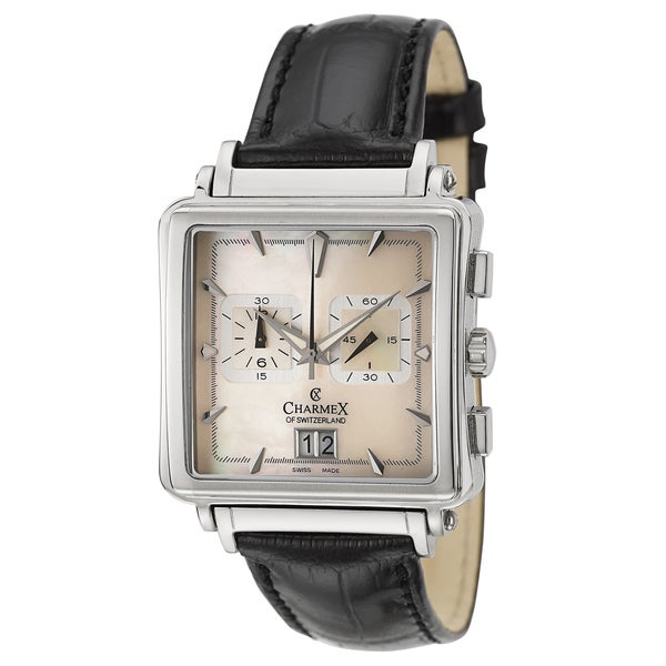 Charmex Men's 'Le Mans' Mother of Pearl Dial Watch