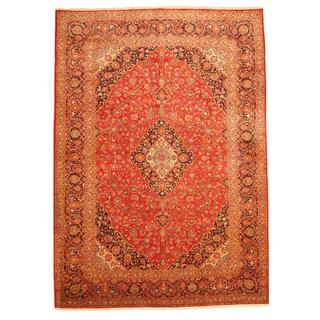 Persian Hand-knotted Kashan Red/ Navy Wool Rug (9'9 x 13'9)