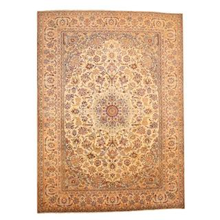 Persian Hand-knotted Isfahan Ivory/ Beige Wool Rug (9'5 x 13')