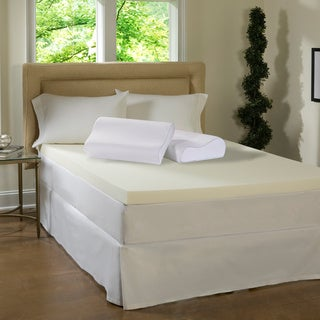 Beautyrest 4-inch Memory Foam Topper with Contour Pillow(s)