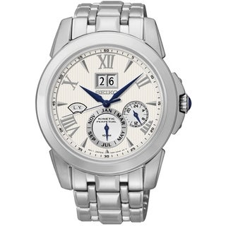 Seiko Men's SNP065 Le Grand Sport Silver Dial Automatic Kinetic Watch