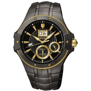 Seiko Men's SNP070 Coutura Black Ion Dial Gold Accent Automatic Kinetic Watch