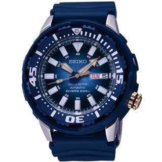 SEIKO Men's Diver's Automatic Blue Dial Rubber Limited Edition Watch - SRP453