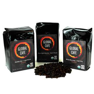 Global Cafe Fair Trade Organic Artisanal Coffee (Three Pack)