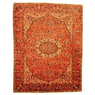 Antique 1940's Persian Hand-knotted Tribal Bakhtiari Orange/ Rust Wool Rug (9'9 x 12'5)