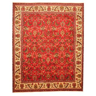 Persian Hand-knotted Tabriz Red/ Ivory Wool Rug (9'10 x 12'1)