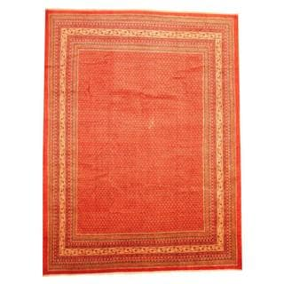 Persian Hand-knotted Tribal Mir Red/ Ivory Wool Rug (9'6 x 12'8)