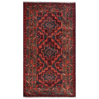 Herat Oriental Afghan Hand-knotted Tribal Balouchi Pink/ Navy Wool Area Rug (3'9 x 6'10)