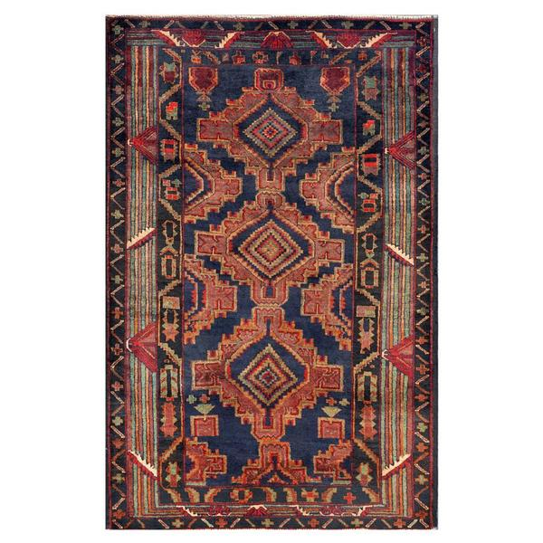 Afghan Hand-knotted Tribal Balouchi Blue/ Light Purple Wool Rug (3'9 x 5'10)
