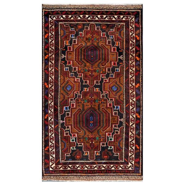 Afghan Hand-knotted Tribal Balouchi Navy/ Purple Wool Rug (3'8 x 6'2)