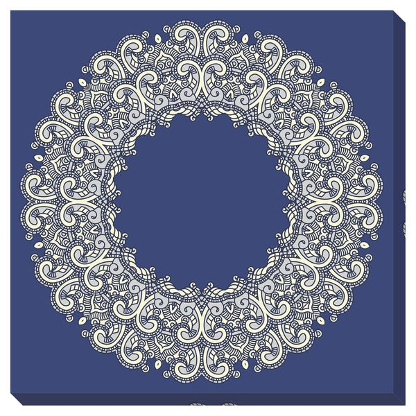 Ornate Blue Gallery Wrapped Canvas