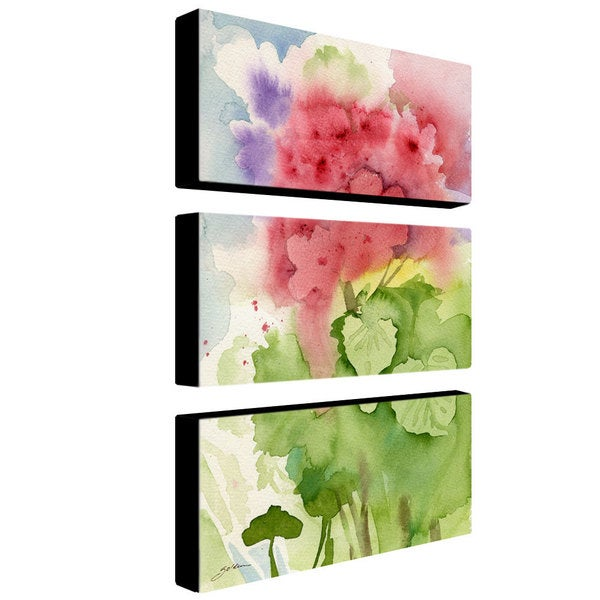Sheila Golden 'Pink Geranium' 3-panel Art Set