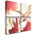 Sheila Golden 'Maroon Composition' 4-panel Canvas Art