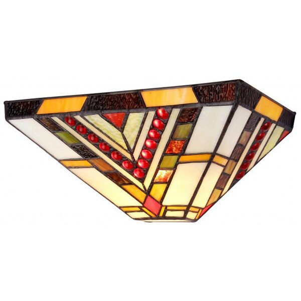 Mission Tiffany Wall Sconces: Handcrafted Tiffany-style Mission 1-light Wall Sconce