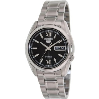 Seiko Men's 5 Automatic Silver Stainless Steel Automatic Watch with Black Dial