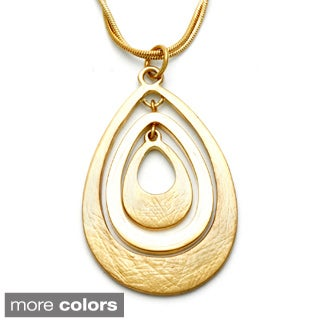 Alexa Starr Goldtone or Silvertone Etched Teardrop Necklace