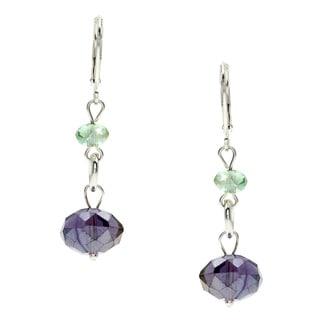 Alexa Starr Silvertone Crystal Drop Link Earrings