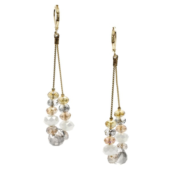 Alexa Starr Long Crystal Oval Drop Earrings