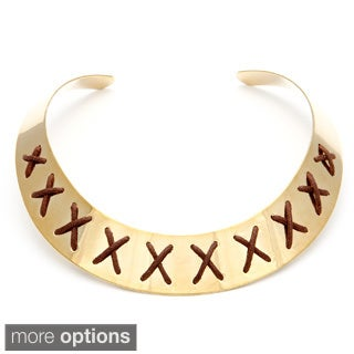 Alexa Starr Goldtone or Silvertone Leather 'X' Detail Collar Necklace