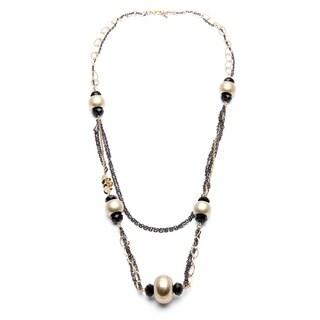 Alexa Starr Goldtone and Hematite-colored Black Glass Station Necklace
