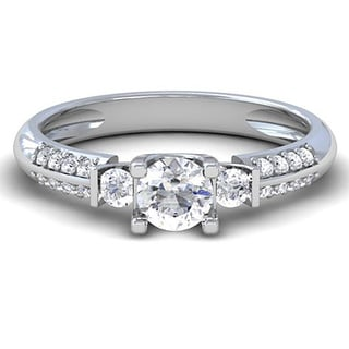 14k White Gold 1/2ct TDW Diamond 3-Stone Engagement Ring (H-I, I1-I2)