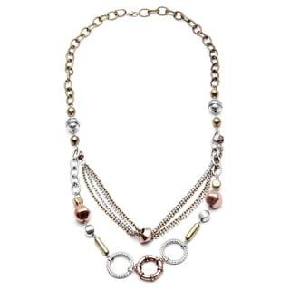 Alexa Starr Tri-color Mixed Media Long Swag Necklace
