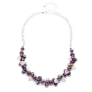 Alexa Starr Silvertone Purple Crystal Cluster Necklace