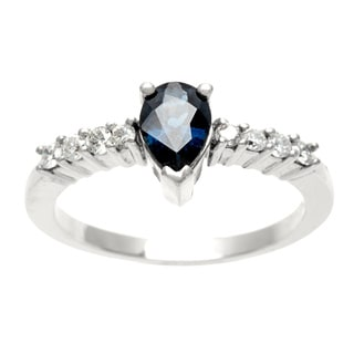 14k Gold Sapphire and 1/5ct TDW Diamond Estate Ring (H-I, SI1-SI2)
