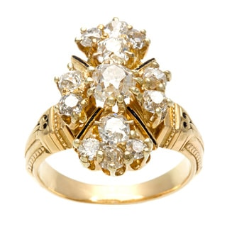 Pre-owned 18k White Gold 1 1/2ct TDW Diamond Estate Cluster Ring (H-I, SI1-SI2)