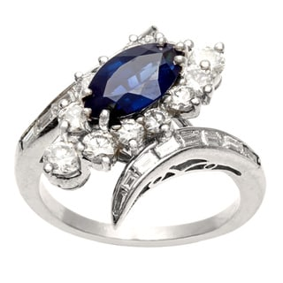 Platinum Sapphire and 1 1/4ct TDW Diamond Estate Ring (H-I, VS1-VS2)