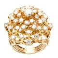 14k Yellow Gold 2 1/2ct TDW Diamond Cluster Estate Ring (E-F, SI1-SI2)